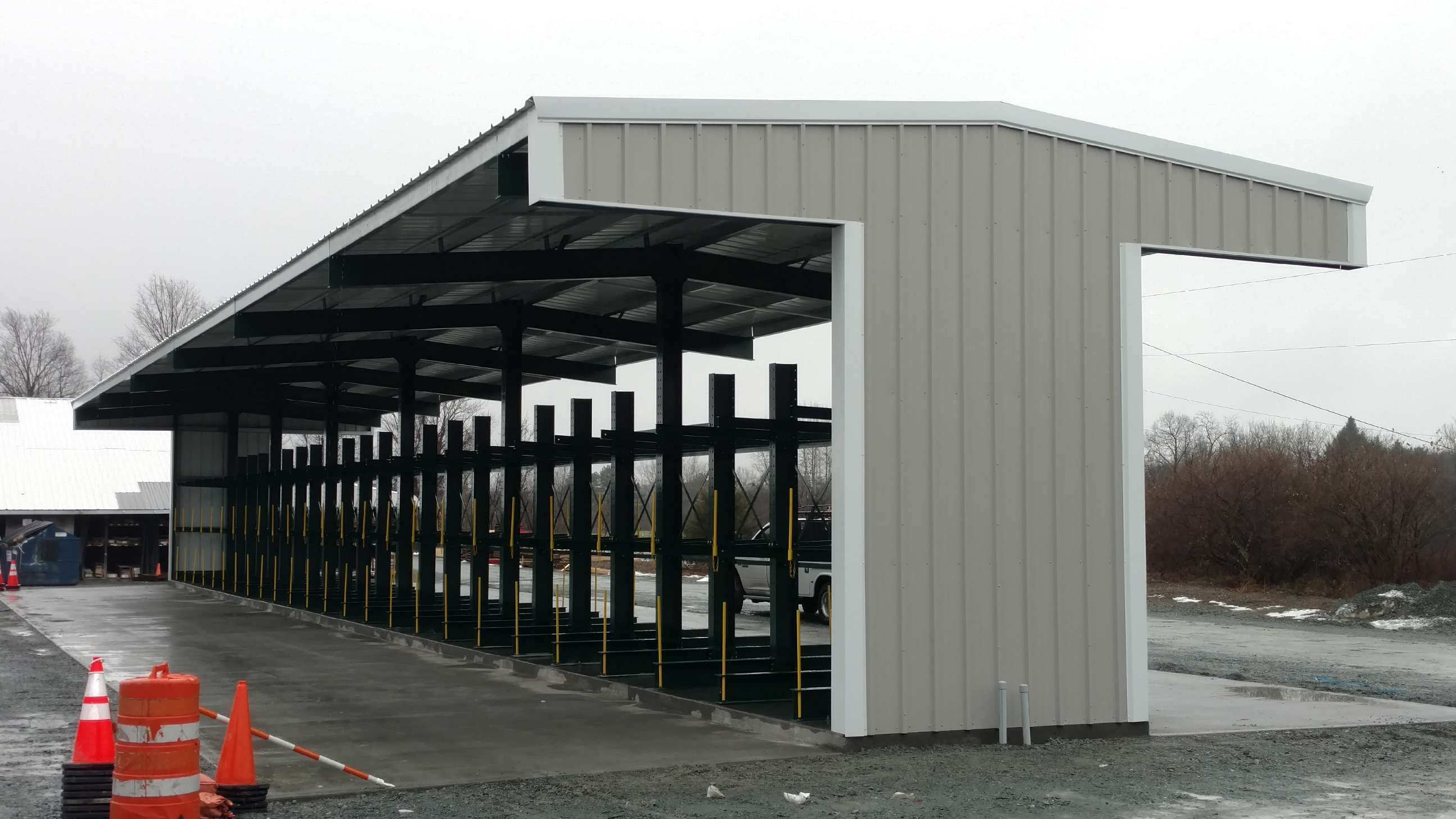 Side View Cantilever Rack-Supported T-Shed